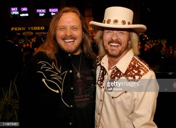 Johnny Van Zant and Donnie Van Zant during The 39th Annual CMA Awards Red Carpet at Madison Square Garden in New York City New York United States