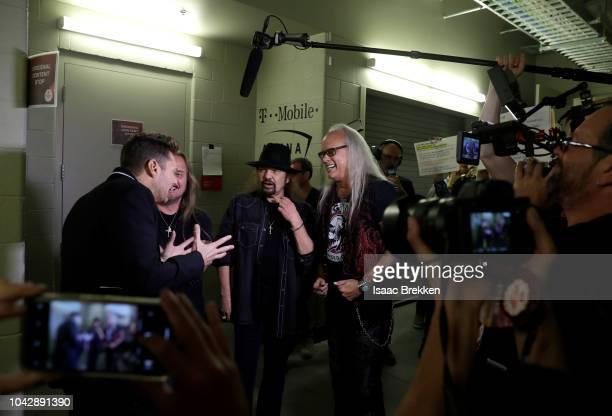 Johnny Van Zant Gary Rossington and Rickey Medlocke of Lynyrd Skynyrd at the iHeartRadio Music Festival at TMobile Arena on September 22 2018 in Las...