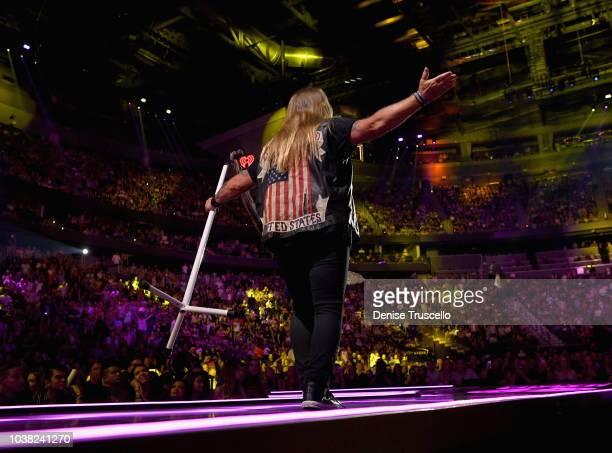 Johnny Van Zant of Lynyrd Skynyrd jacket detail performs onstage during the 2018 iHeartRadio Music Festival at TMobile Arena on September 22 2018 in...