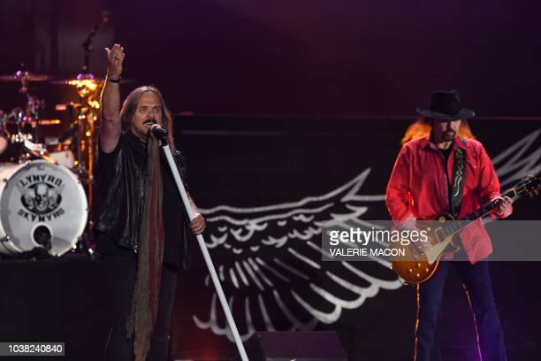 Johnny Van Zant of rockband Lynyrd Skynyrd performs on stage during the iHeartRadio Music Festival at the TMobile arena in Las Vegas Nevada on...