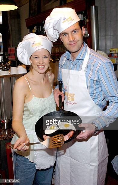 Johnny Vaughan and Becky Jago during The Capital Radio Breakfast Show with Johnny Vaughan Photocall at Star Cafe in London Great Britain