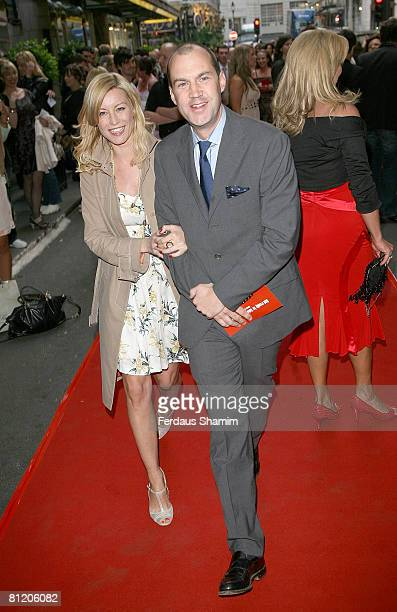 Johnny Vaughan and Denise Van Outen arrive at Never Forget The Take That Musical Gala Opening at the Savoy Theatre on May 22 2008 in London England