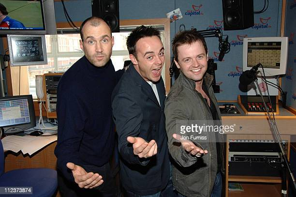 Johnny Vaughan Ant McPartlin and Declan Donnelly during Ant and Dec Visit Capital Radio April 03 2006 at Capital Radio in London Great Britain