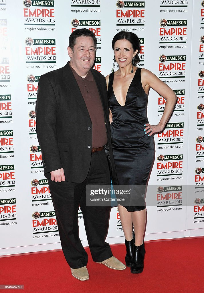 Johnny Vegas (L) and Maia Dunphy are pictured arriving at the Jameson Empire Awards at Grosvenor House on March 24, 2013 in London, England.