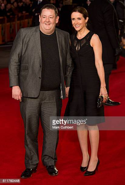 """Johnny Vegas and Maia Dunphy arrive for the World premiere of """"Grimsby"""" at Odeon Leicester Square on February 22, 2016 in London, England."""
