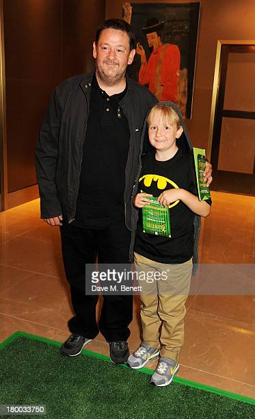 Johnny Vegas and son Michael Pennington Jr attends the UK Premiere of 'Justin and the Knights of Valour' at The May Fair Hotel on September 8 2013 in...
