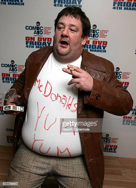 """Johnny Vegas poses in the Press Room during """"Comic Aid"""", a comedy night with proceeds going to the Disasters Emergency Committee to raise funds for..."""