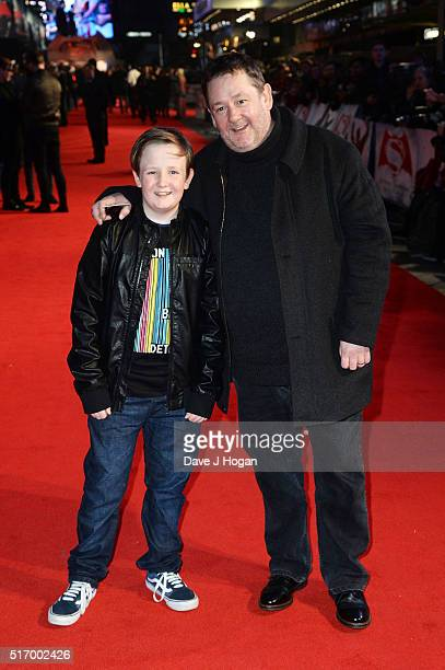 Johnny Vegas with his son Michael attend the European Premiere of 'Batman V Superman Dawn Of Justice' at Odeon Leicester Square on March 22 2016 in...