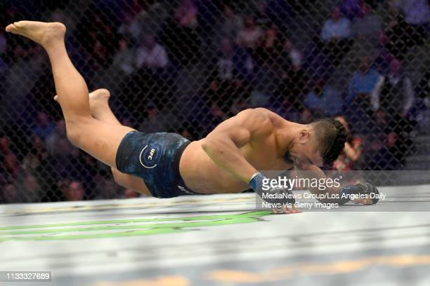 Johnny Walker celebrates after defeating Misha Cirkunov via first round TKO during UFC 235 at the TMobile Arena in Las Vegas NV Saturday Mar 2 2019...