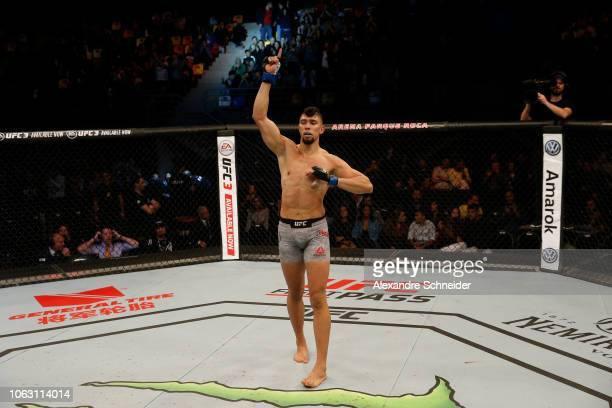 Johnny Walker of Brazil celebrates after defeating Khalil Rountree Jr in their light heavyweight bout during the UFC Fight Night event inside Arena...