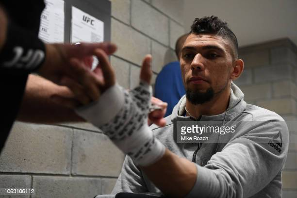 Johnny Walker of Brazil gets his hands wrapped backstage during the UFC Fight Night event inside Arena Parque Rosa on November 17 2018 in Buenos...