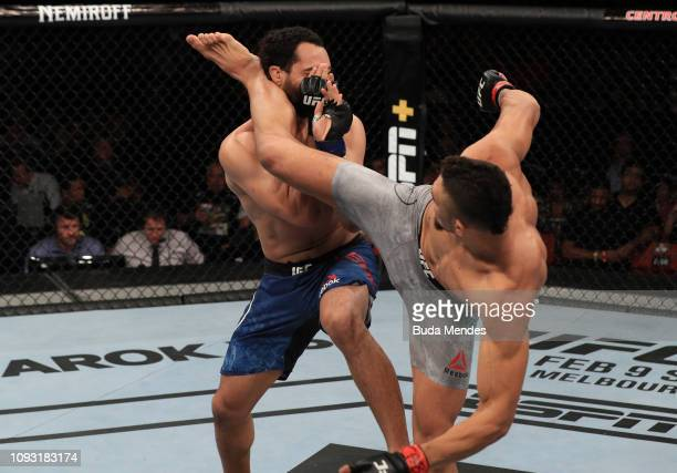 Johnny Walker of Brazil reacts after his knockout victory over Justin Ledet in their light heavyweight fight during the UFC Fight Night event at CFO...