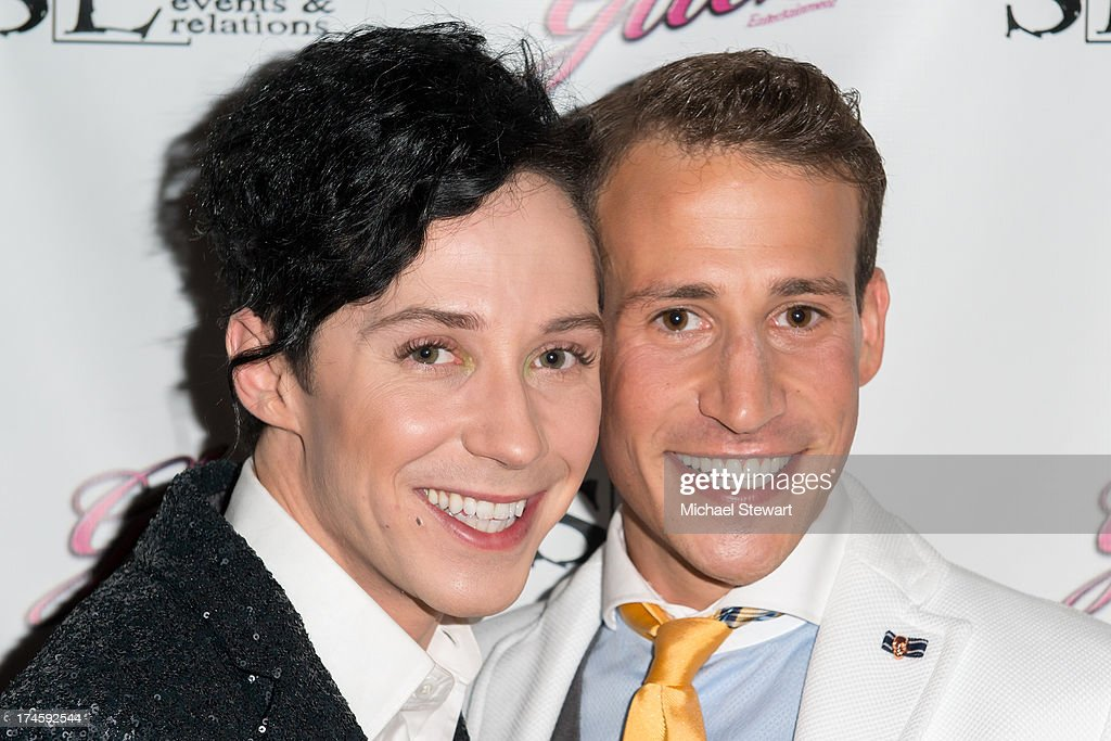 Johnny Weir (L) and Victor Weir-Voronov attend Johnny Weir & Victor Weir-Voronov's Birthday Celebration at Soho Grand Hotel on July 27, 2013 in New York City.