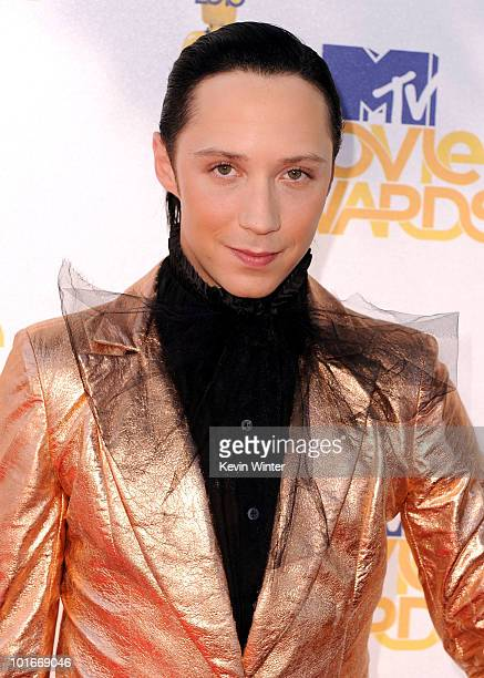 Johnny Weir arrives at the 2010 MTV Movie Awards held at the Gibson Amphitheatre at Universal Studios on June 6 2010 in Universal City California