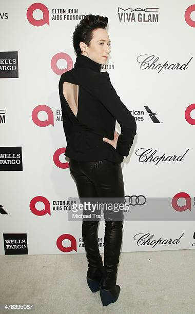 Johnny Weir arrives at the 22nd Annual Elton John AIDS Foundation's Oscar viewing party held on March 2 2014 in West Hollywood California