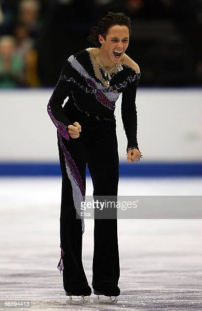 Johnny Weir celebrates after finishing his Free program during the 2006 State Farm U.S. Figure Championships at the Savvis Center on January 14, 2006...