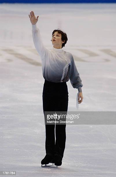 Johnny Weir competes in the free skate program during the State Farm US Figure Skating Championships on January 18 2003 at the American Airlines...