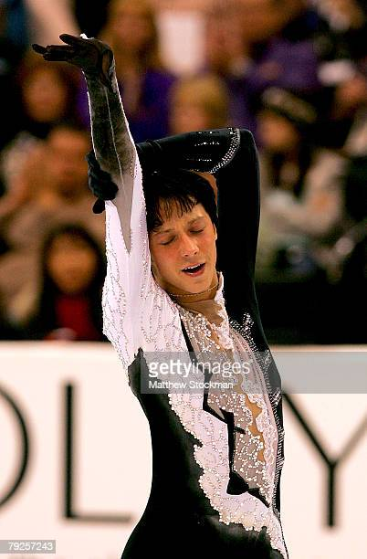 Johnny Weir finishes his routine in the short program during the US Figure Skating Championships January 25, 2008 at the Xcel Energy Center in St...