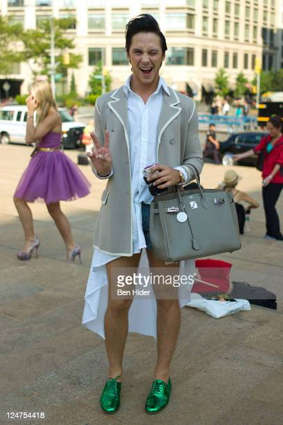 Johnny Weir is seen wearing Christian Laboutin shoes and Hermes bag on the streets of Manhattan during Spring 2012 Fashion Week on September 12 2011...