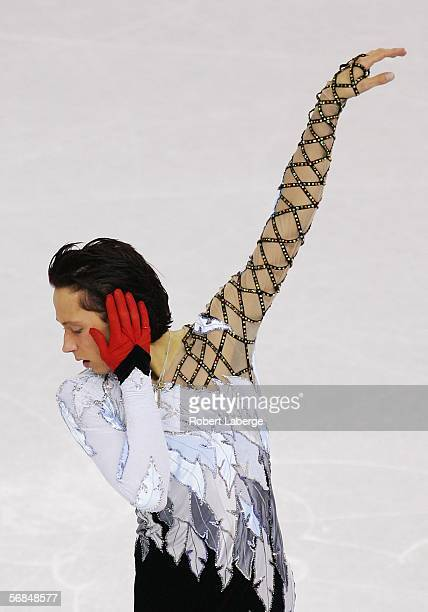 Johnny Weir of the United States competes in the Men's Short Program Figure Skating during Day 4 of the Turin 2006 Winter Olympic Games on February...