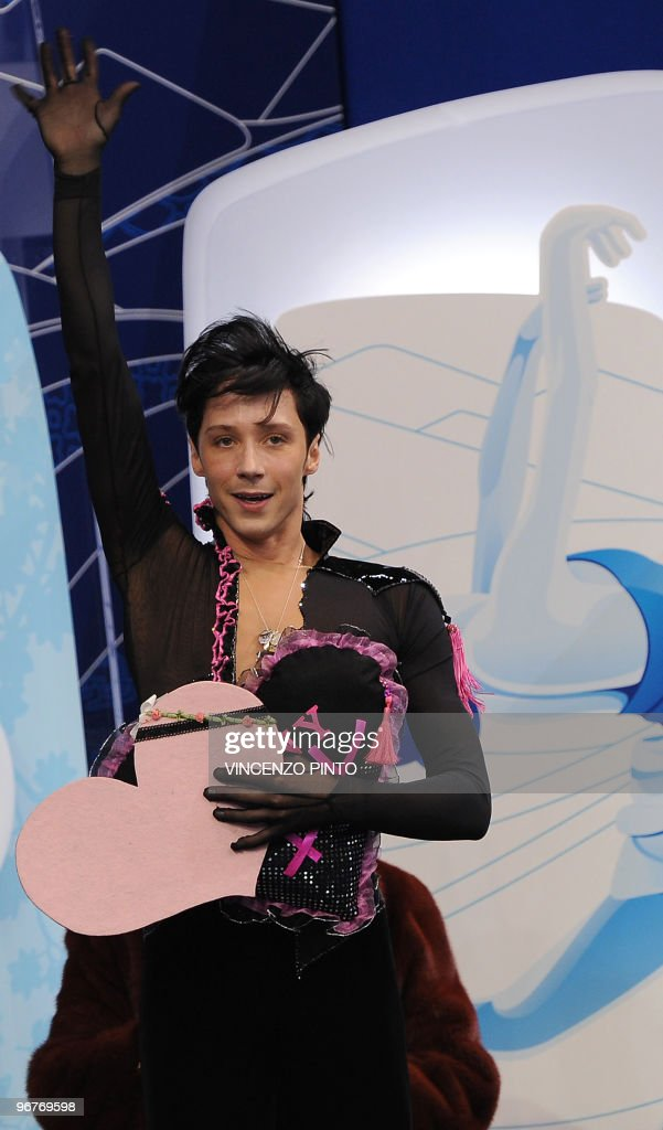 Johnny Weir of the US waves after competing in the men's Figure Skating short program at the Pacific Coliseum during the Vancouver Winter Olympics on February 16, 2010.