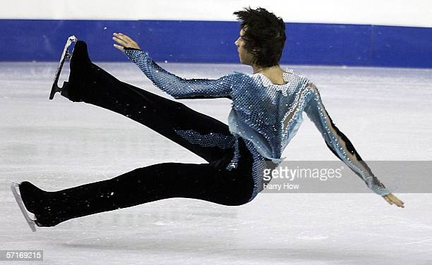 Johnny Weir of USA loses an edge in the Men's Free Skate during the ISU World Figure Skating Championships at the Pengrowth Saddledome on March 23,...
