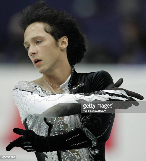 Johnny Weir performs his short program at the Scandinavium arena in Gothenburg on March 21 during the World Figure Skating Championships. AFP PHOTO...