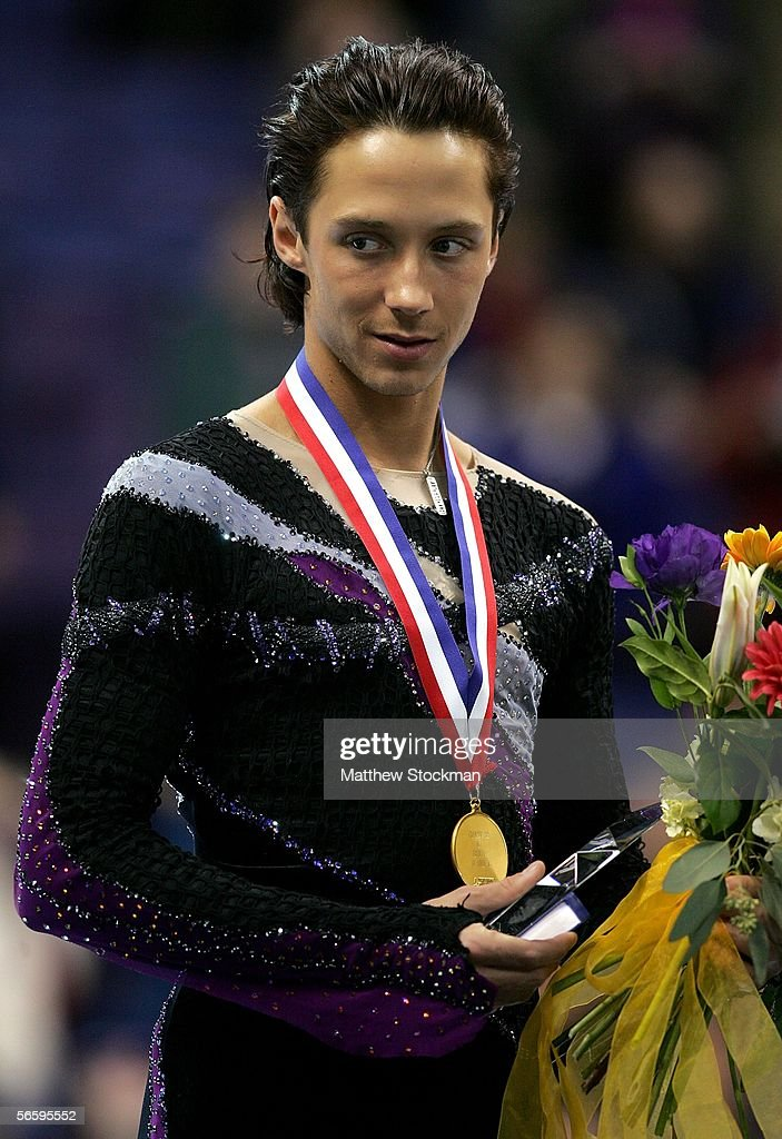 Johnny Weir stands on the podium after receiving his gold medal at the 2006 State Farm U.S. Figure Championships at the Savvis Center on January 14, 2006 in St. Louis, Missouri.