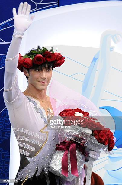 US' Johnny Weir waves after his Men's figure skating free program at the Pacific Coliseum in Vancouver during the XXI Winter Olympics on February 18...
