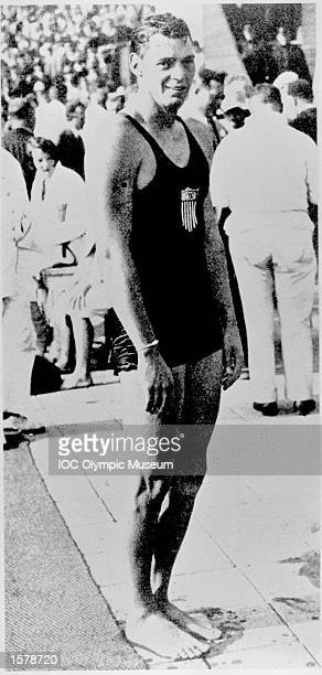 Johnny Weismuller of the USA waits for the start of the swimming competition at the 1924 Olympic Games in Paris Weissmuller is one of those Olympic...