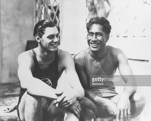 Johnny Weissmuller American Olympic swimmer 19041984 with Duke Kahanamoku at the 1924 Paris Olympics