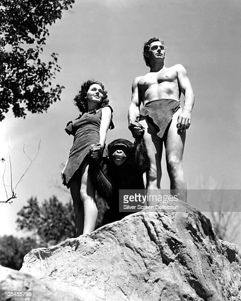Johnny Weissmuller as Tarzan and Maureen O'Sullivan as Jane Parker in the film 'Tarzan the Ape Man' 1932