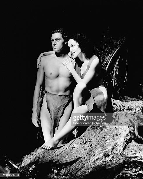 Johnny Weissmuller as Tarzan and Maureen O'Sullivan as Jane Parker in a promotional portrait for 'Tarzan and His Mate' directed by Cedric Gibbons 1934