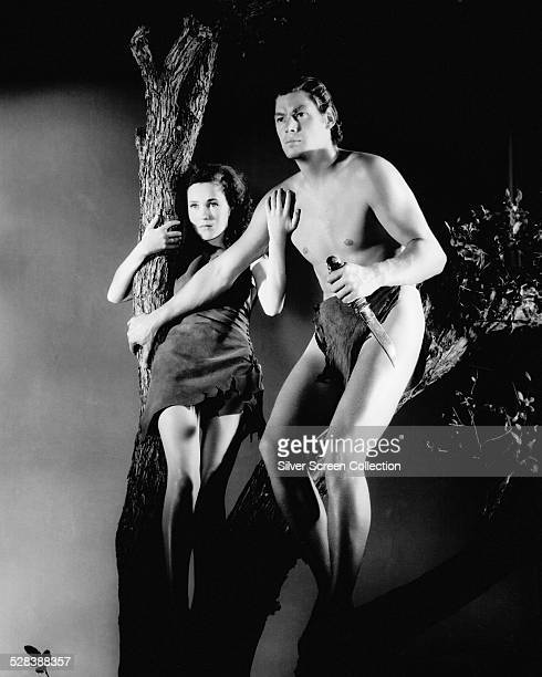 Johnny Weissmuller as Tarzan and Maureen O'Sullivan as Jane Parker in a promotional still for 'Tarzan Escapes' directed by Richard Thorpe 1936