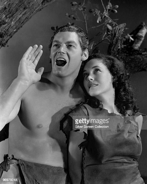 Johnny Weissmuller as Tarzan and Maureen O'Sullivan as Jane Parker in a publicity still for the film 'Tarzan Escapes' 1936
