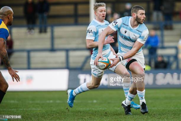 Johnny Williams of Newcastle Falcons in action following his recovery from testicular cancer during the Greene King IPA Championship match between...