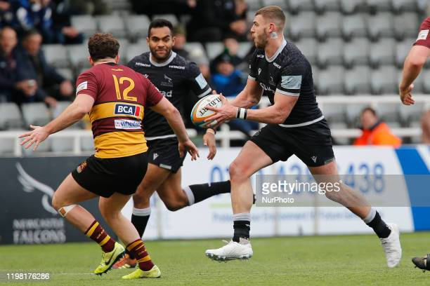 Johnny Williams of Newcastle Falcons looks for support from George Wacokecoke during the Greene King IPA Championship match between Newcastle Falcons...