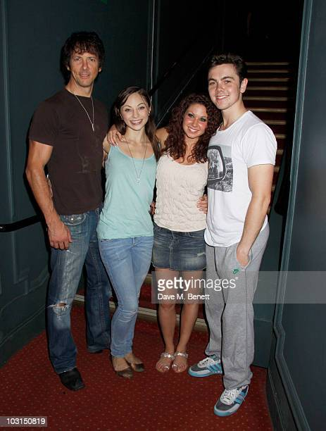 """Johnny Wright and Hannah Vassallo with Charlie Bruce and new cast member Ray Quinn at backstage after the west end production of """"Dirty Dancing"""" at..."""