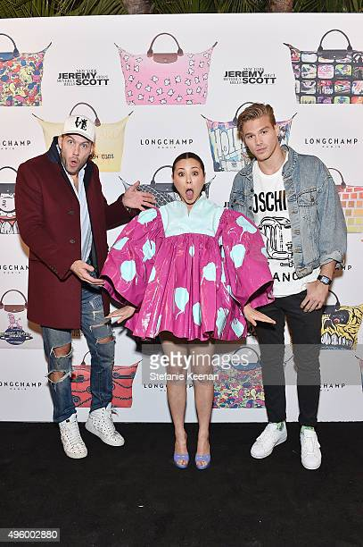 Johnny Wujek actress China Chow and Matthew Noszka attend Jeremy Scott For Longchamp 10th Anniversary held at a Private Residence on November 5 2015...