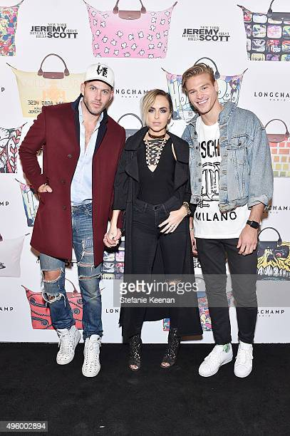 Johnny Wujek Maeve Reilly and Matthew Noszka attend Jeremy Scott For Longchamp 10th Anniversary held at a Private Residence on November 5 2015 in...