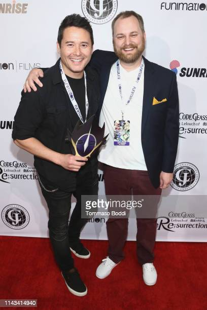Johnny Yong Bosch and Donald Shult attend the Code Geass Lelouch Of the Resurrection Los Angeles Dub Premiere at The Montalban on April 17 2019 in...