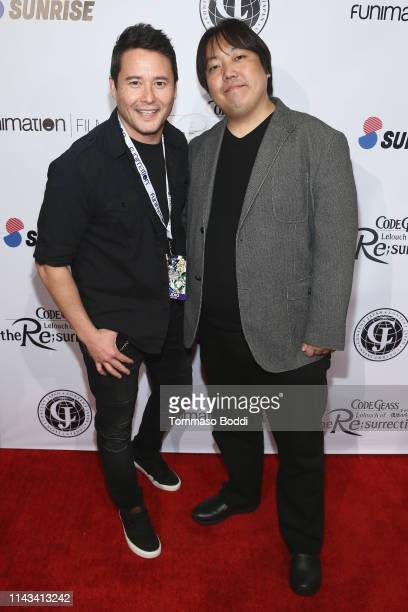 Johnny Yong Bosch and Kojiro Taniguchi attend the Code Geass Lelouch Of the Resurrection Los Angeles Dub Premiere at The Montalban on April 17 2019...