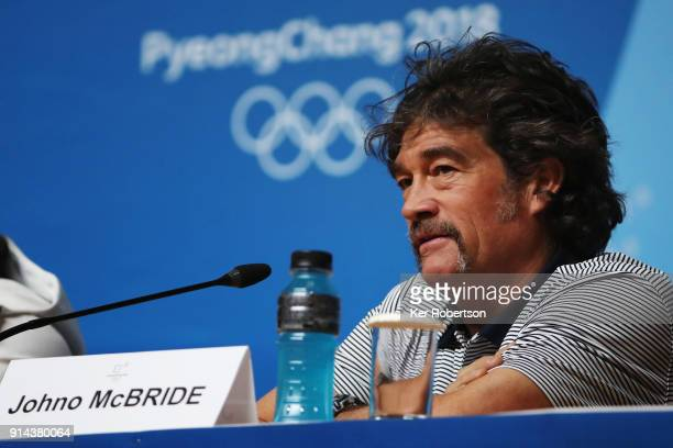Johno McBride the United States men's ski team coach attends a press conference at the Main Press Centre during previews ahead of the PyeongChang...