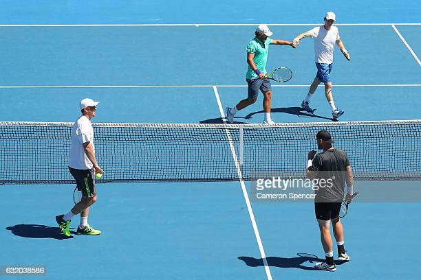 JohnPatrick Smith and Matt Reid of Australia comepete against Chris Cuccione and Sam Groth of Australia on day four of the 2017 Australian Open at...
