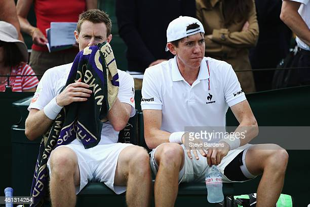 JohnPatrick Smith of Australia and Jonathan Marray of Great Britain during their Gentlemen's Doubles second round match against JuanSebastian Cabal...