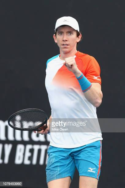 JohnPatrick Smith of Australia celebrates after winning a point in his match against Matthias Bachinger of Germany during day two of Qualifying for...