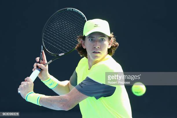 JohnPatrick Smith of Australia competes in his first round match against Aldin Setkic of Bosnia and Herzegovina during 2018 Australian Open...