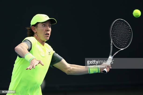 JohnPatrick Smith of Australia competes in his second round match against Cameron Norrie of United Kingdom during 2018 Australian Open Qualifying at...