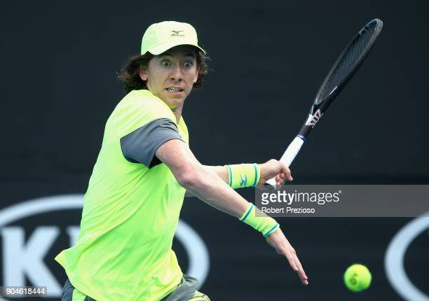JohnPatrick Smith of Australia competes in his third round match against Kevin King of United States during 2018 Australian Open Qualifying at...