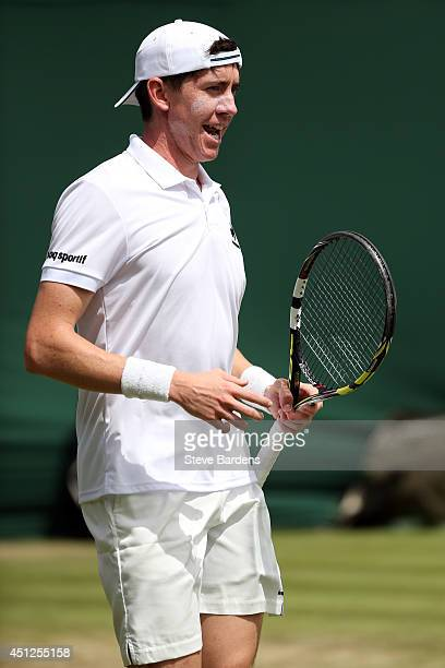 JohnPatrick Smith of Australia during their Gentlemen's Doubles first round match with Jonathan Marray of Great Britain against Andreas Siljestrom of...